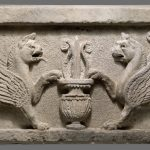 Door lintel with lion-griffins and vase with lotus leaf-parthians